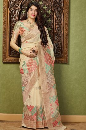 Cream Color Party Wear Weaving With Jacquard Saree