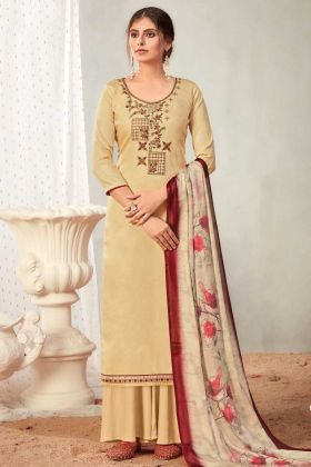 Cream Color Pure Solid Cotton Plazzo Style Salwar Suit