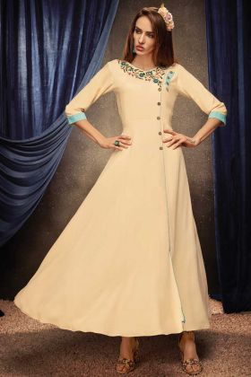 Cream Color Readymade Gown With Rayon Fabric