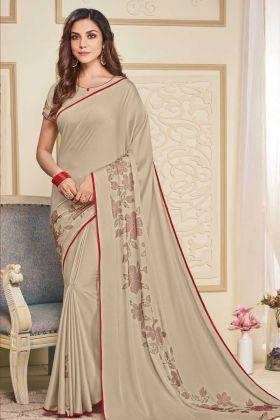 Cream Color Soft Satin Elegant Designer Saree
