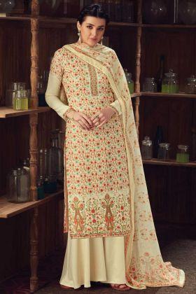 Cream Color Wool Pashmina Kashmiri Plazzo Suit