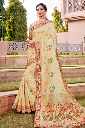 Cream Designer Traditional Saree In Weaved Silk