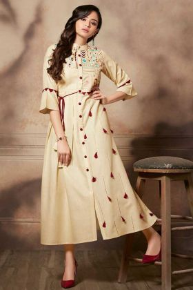 Cream Party Wear Handloom Rayon Kurti Designs