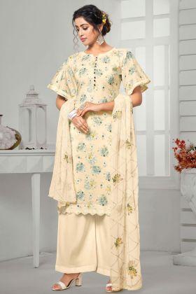 Cream Pure Jam Cotton Designer Plazzo Suit