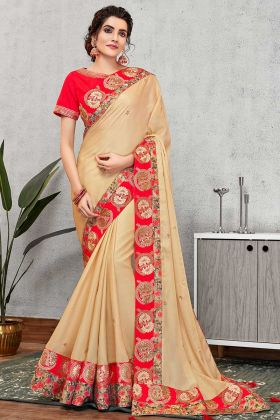 Cream Wedding Embroidery Saree Silk Georgette