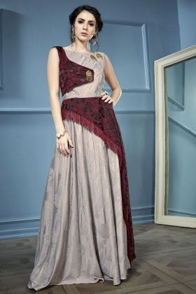 Cream and Maroon Silk Gown