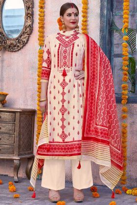 Cream And Red Palazzo Salwar Suit Linen With Chanderi Dupatta