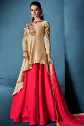 Cream And Red Soft Tapeta Indo Western Suit With Nazneen Dupatta