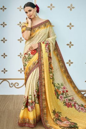 Cream And Yellow Digital Print Banarasi Art Silk Saree