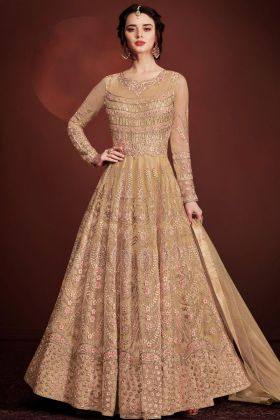 Cream Butterfly Net Gown Style Suit