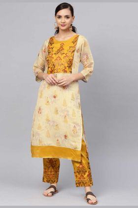Cream Chanderi Silk Kurti Paired With Poly Silk Bottom