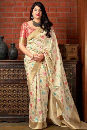 Cream Color Banarasi Art Silk Wedding Saree With Weaving Work
