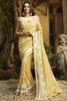 Cream Color Chanderi Designer Saree With Printed Work
