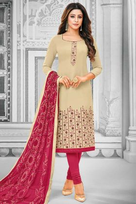 Cream Color Cotton Churidar Dress Resham Embroidery Work With Chiffon Dupatta