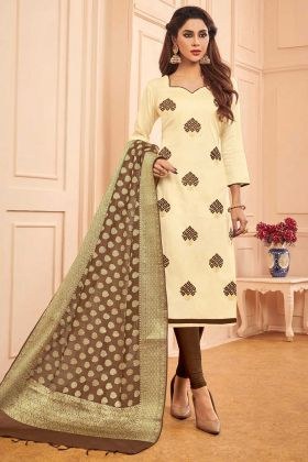 Cream Color Cotton Straight Salwar Suit With Thread Embroidery Work