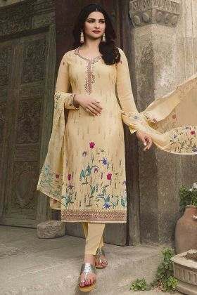 Cream Color Crepe Salwar Suit With Printed Work