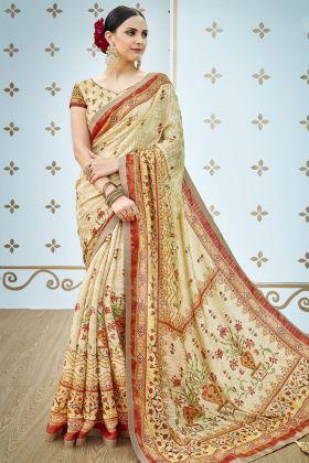 Cream Color Digital Print Banarasi Art Silk Saree
