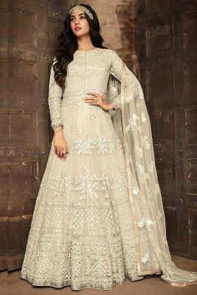 Cream Color Embroidery Work Soft Net Anarkali Dress