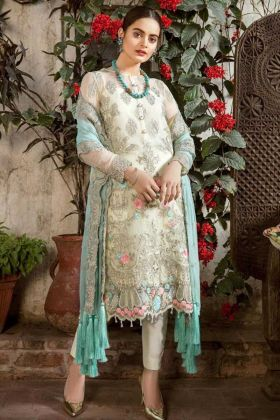 Cream Color Georgette Pakistani Salwar Suit With Embroidery Work