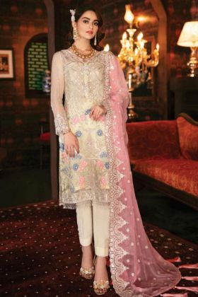 Cream Color Georgette Pakistani Suit With Embroidery Work