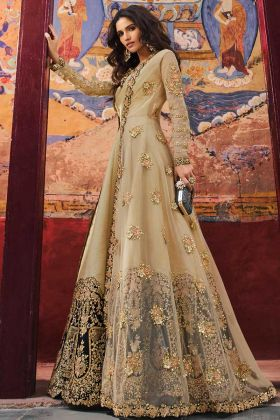 Cream Color Jacket Style Net Anarkali Salwar Suit With Embroidery Work