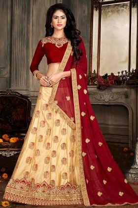 Cream Color Jacquard Net Bridal Lehenga Choli