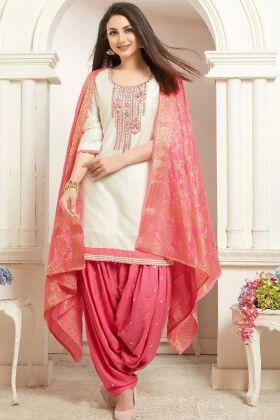 Cream Color Jam Silk Cotton Patiala Salwar Suit With Embroidery Work