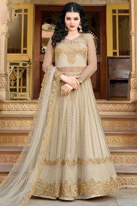 Cream Color Net Indo Western Salwar Suit With Embroidery Work
