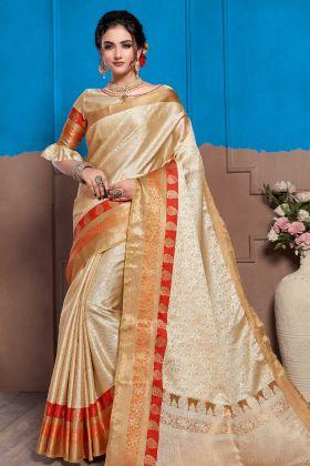Cream Color Nylon Art Silk Fancy Wedding Saree With Weaving Work