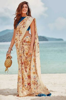 Cream Color Printed Work Soft Linen Designer Saree