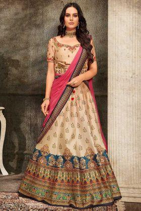 Cream Color Pure Heritage Soft Silk Gown With Lehenga Choli