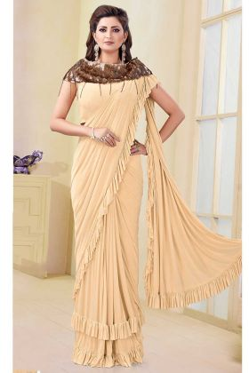 Cream Color Satin Lycra and Silk Wedding Saree With Printed Work