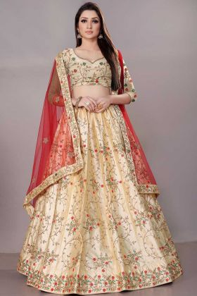 Cream Color Satin Silk Designer Lehenga Choli With Stone Work