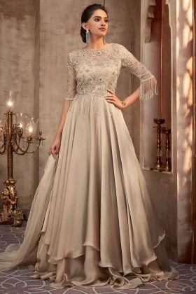 Cream Color Silk Georgette Party Wear Gown With Front And Back Embroidered