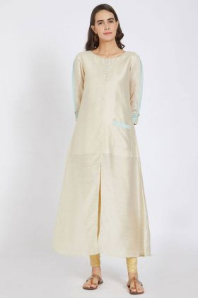 Cream Color Silk Kurti Online