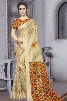 Cream Color Soft Cotton Casual Saree With Blouse
