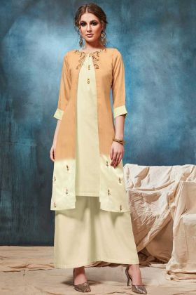 Cream Color Viscose Indo Western Jacket Style Kurti