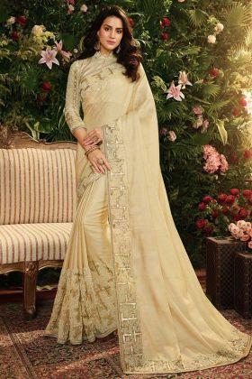 Cream Color Viscose Tussar Satin Silk and Net Designer Saree