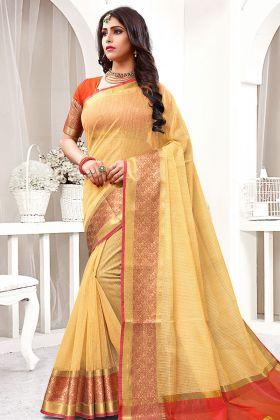 Cream Cotton Silk Festive Saree