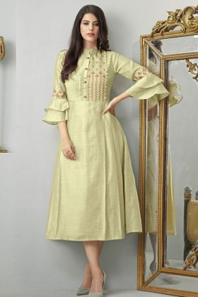 Cream Cotton Slub Kurti Design