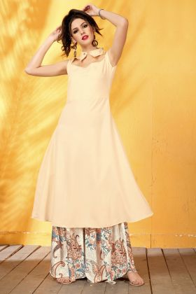 Cream Digital Printed Rayon Kurti