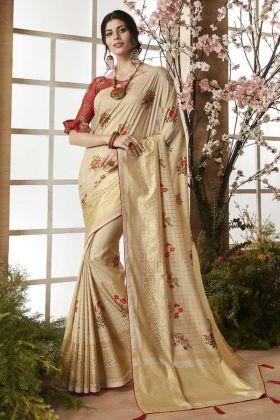 Cream Dola Silk Printed Saree Online