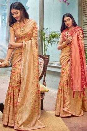 Cream Fancy Banarasi Work Saree Online