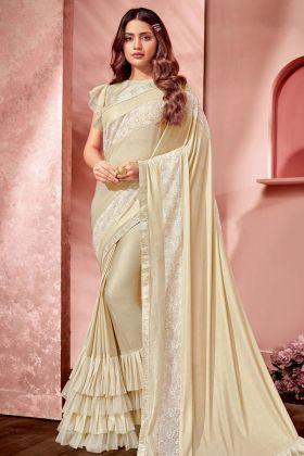 Cream Fancy Net Designer Saree