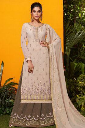 Cream Georgette Indo Western Dress