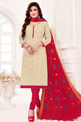 Cream Jacquard Silk Dress Material