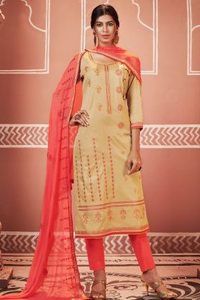 Cream Jam Cotton Silk Pant Style Salwar Kameez