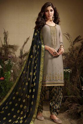 Cream Jam Silk Cotton Punjabi Salwar Suit