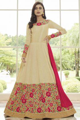 Cream Mulberry Silk Anarkali Salwar Suit With Resham Thread Embroidery Work