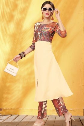 Cream Rayon Digital Printed Kurti